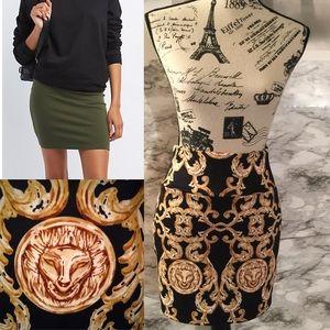 CR Gold And Black Lion & Chains High Waist Skirt